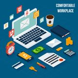 Workplace elements isometric Stock Photos