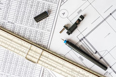 Workplace of engineer, tools for sketching and plan Stock Image