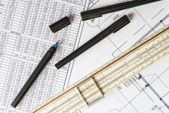 Workplace of engineer, tools for sketching Stock Photography