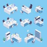 workplace Ensemble isométrique de pièce de bureau illustration libre de droits