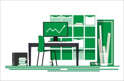 Workplace of the financier. Workplace of a financier in a flat style. Workplace of financial analyst. Auditor`s workplace. Workplace SEO optimizer. Vector Stock Images