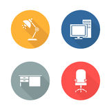 Workplace flat design icon set Royalty Free Stock Photo