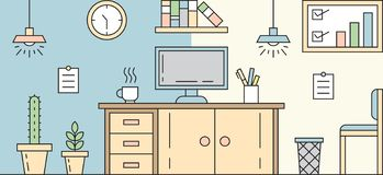 Workplace Flat Line Design. Simple, Flat, and Colorful Illustration. Room Concept royalty free illustration