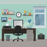 Workplace. Flat modern workplace. File is in eps10 format Stock Photography