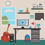 Workplace in  flat style with computer. Table, graphics, guitar, books. JPG, EPS Royalty Free Stock Photos