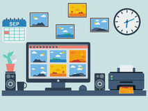 Workplace flat vector illustration Royalty Free Stock Images
