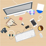 Workplace flat, web work. Vector Royalty Free Stock Image
