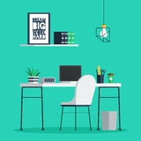 Workplace freelance interior. With laptop, clock, coffee cup and plant on desk, home office. Trendy vector illustration in flat design for web banner and print Stock Photos