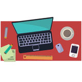 Workplace of freelancer in flat style Stock Images