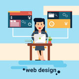 Workplace Graphic Design för kvinnarengöringsdukformgivare bakgrund royaltyfri illustrationer