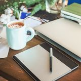 Workplace with Graphic Tablet, Laptop Stock Photos