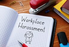 Free Workplace Harassment Is Shown On The Conceptual Business Photo Royalty Free Stock Images - 183135629
