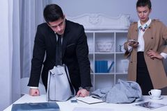 Workplace harassment victim and employer Stock Photo