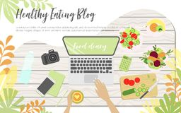 Workplace of health eating blogger stock illustration
