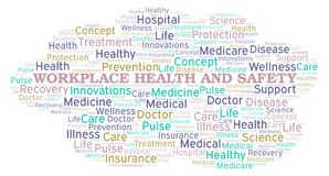 Workplace Health And Safety word cloud. Great graphic illustration for your needs, beautiful and colorful royalty free illustration