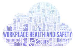 Workplace Health And Safety word cloud. Word cloud made with text only royalty free illustration