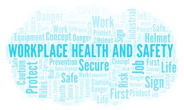 Workplace Health And Safety word cloud. Word cloud made with text only vector illustration