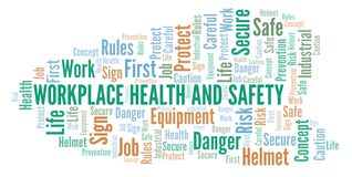Workplace Health And Safety word cloud. Word cloud made with text only stock illustration