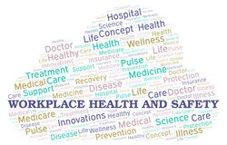 Workplace Health And Safety word cloud. Wordcloud made with text only stock illustration