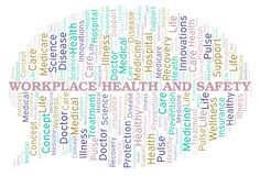 Workplace Health And Safety word cloud. Wordcloud made with text only royalty free illustration