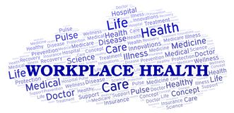 Workplace Health word cloud. Wordcloud made with text only stock illustration