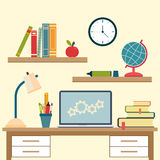 Workplace with high school object and college education items Stock Image