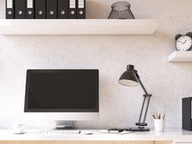 Workplace at home. Computer on table. black screen, shelf above. Concept of work. Mock up. 3D render Royalty Free Stock Image