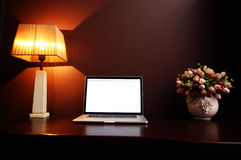 Workplace at home with laptop Royalty Free Stock Photography
