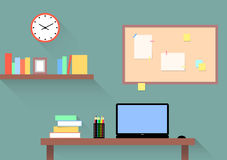 Workplace, home office for designer, student, creative people. Study room with table, laptop and bookshelf. Infographics, vector illustration, flat style Royalty Free Stock Image