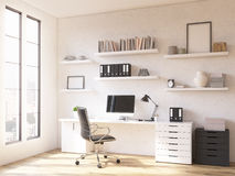Workplace at home. Room in flat, table at window, shelves above. Concept of workplace. Mock up. 3D render Royalty Free Stock Photos