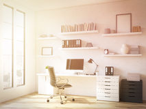 Workplace at home. Room in flat, table at window, shelves above. Concept of workplace. Toned, filter. Mock up. 3D render Royalty Free Stock Image