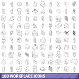 100 workplace icons set, outline style Royalty Free Stock Image
