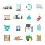 Workplace Icons Set Stock Photography
