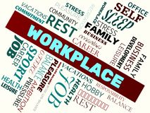 WORKPLACE - image with words associated with the topic work-life-balance, word cloud, cube, letter, image, illustration Royalty Free Stock Images
