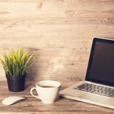 Workplace interior wooden desk setting stock photo