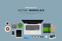 Workplace with isolated objects Royalty Free Stock Photos