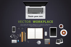 Workplace with isolated objects Royalty Free Stock Image