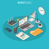 Workplace Isometric Concept. Business Auditing Workplace Isometric Concept with laptop, charts, router and smartphone isometric icons. Vector illustration Royalty Free Stock Image