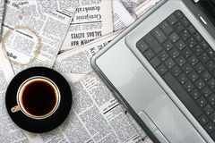Workplace with laptop and coffee cup Stock Photo