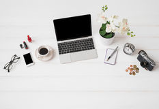 Workplace with laptop computer and different items Royalty Free Stock Photo