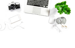 Workplace laptop digital phone photo camera Hero header. Workplace with laptop, phone, notebook, photo camera, green plant. Office desk white background. Hero Stock Image