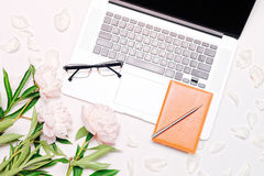 Workplace with laptop glasses notebook pen and peony flowers Stock Images