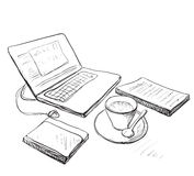 Workplace with laptop, notebook and cup of coffee Royalty Free Stock Image