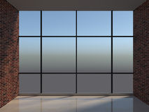 Workplace with large window Royalty Free Stock Image