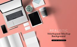 Workplace Layout Top View Mockup royalty free illustration
