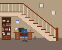 Workplace located under the stairs. There is a desktop, a cabinet for documents, a chair, a computer, a lamp and other objects in the picture. Vector flat Stock Photo