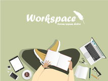 Workplace with man with laptop Royalty Free Stock Photo