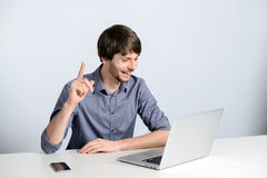 Workplace man with notebook. And mobile phone Stock Photos