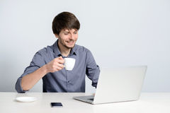 Workplace man with notebook. And mobile phone Stock Photo