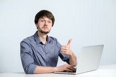 Workplace man with notebook. And mobile phone Royalty Free Stock Photo